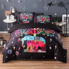 colorful cartoon elephant bedding set black duvet quilt cover