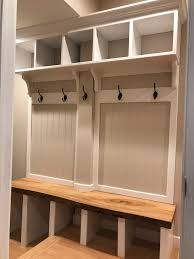 Built In Mudroom Bench Hall Tree Entry Locker With A Live Edge Oak Bench Hall Tree