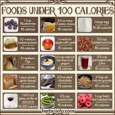 free printable chart of foods under 100 calories herbs info
