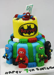 lego ninjago batman and spiderman theme cake for rayyan jocakes