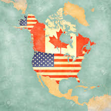 usa and canada on the outline map of north america the map is