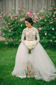 high wedding dress white two sleeved lace tulle high low fashion a line