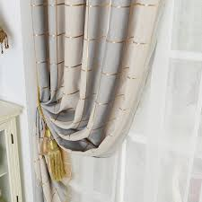 gold blackout polyester plaid curtains