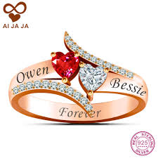 online get cheap custom engraving ring women aliexpress aijaja customized sterling silver name engraved two heart stone promise ring rose gold