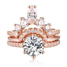 gold art rings images Round cut s925 silver white sapphire rose gold art deco 3 piece jpg