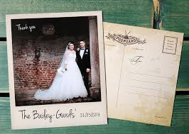 wedding thank you postcards vintage chic polaroid photo wedding thank you cards wedfest