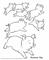 farm animal coloring pages printable wild runaway pigs coloring