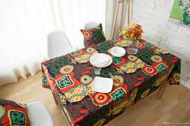 Dining Room Tablecloth Red Navy Mediterranean Cotton And Linen Cloth Art Bohemia