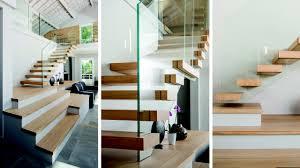 rambarde escalier design escalier contemporain suspendu en chêne avec garde corps en verre