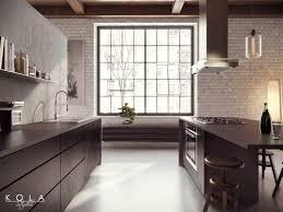 Black Cabinets Kitchen Loft Kitchen Visualization Design Kola Studio Tags Wooden