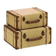 shop woodland imports set of 2 old look burlap wood storage trunks