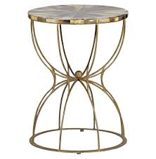 Brass Accent Table Gabrielle Hollywood Regency Hourglass Brass Horn Side End Table