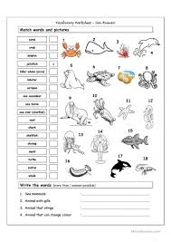 Linking And Action Verbs Worksheets 74 Free Esl Sea Animals Worksheets