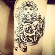 image result for black and white russian doll sketch tattoo