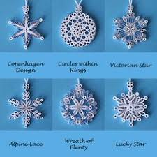 2015 six quilled filigree miniature snowflakes