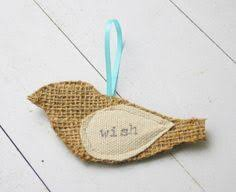 burlap bird dove ornament on the by 540mercantile