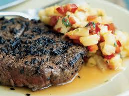 sesame crusted beef tenderloin steaks u0026 pineapple mango u0026 red