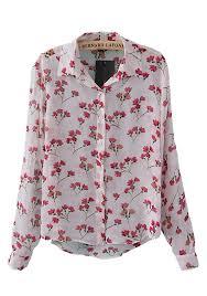 print blouses multicolor floral print lapel sleeve chiffon blouse blouses