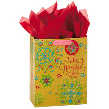 present tissue paper feliz navidad language large christmas gift bag with tissue