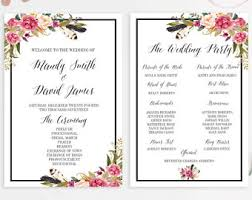 Wedding Program Dimensions Watercolor Programs Etsy