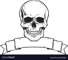 skull ribbon black and white human skull with ribbon banner vector image