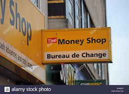 the shop bureau de change the shop and bureau de change neon sign in brighton uk stock