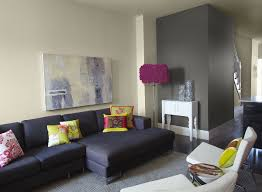 charming grey paint color for living room with a black sofa and