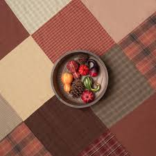 autumn plaid patchwork tablecloth retro barn country linens