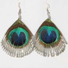 peacock feather earrings peacock feather earring silver arts and crafts uk