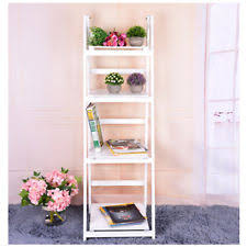 4 Tier White Wash Ladder by Free Standing Shelving Unit Ebay