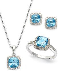 necklace with earrings set images Sterling silver jewelry set blue topaz 5 7 8 ct t w and tif