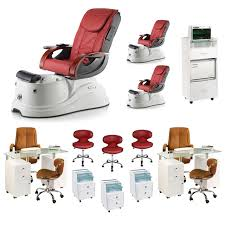 luxury nail salon furniture package red pacific ax free shipping