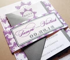 purple wedding invitations purple and gray belly band purple