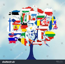 Europe Flag Map by Map Flags Europe Tree Design Vector Stock Vector 327050963