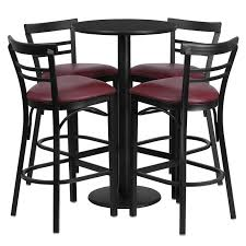 silver metal bar table flash furniture 24 round black laminate table set with 4 ladder