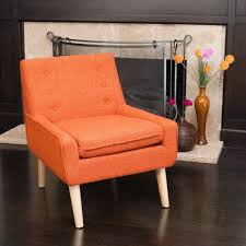 Retro Accent Chair Retro Orange Fabric Accent Chair W Button Tufted Backrest Ebay
