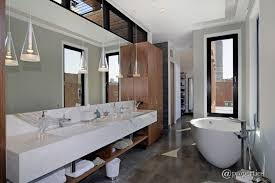 modern master bathroom with pendant light u0026 freestanding bathtub