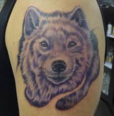 tribal wolf howl at the moon tattoo sample in 2017 real photo