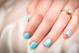 blue wedding nail designs let all coats of polish dry in between