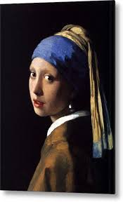 painting the girl with the pearl earring girl with a pearl earring metal print by johannes vermeer
