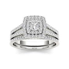 overstock wedding ring sets de couer 10k white gold 3 4ct tdw diamond halo engagement