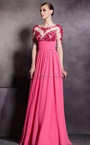 fuchsia empire waist chiffon lace illusion neck long bridesmaid