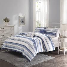 better homes and gardens blue brushstroke stripe 5 piece bedding