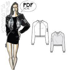 pattern art pdf j005 cropped bomber jacket pdf sewing pattern by kommatia patterns