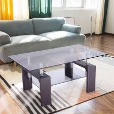 amazon com tangkula rectangular glass coffee table shelf wood