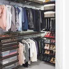 birch u0026 white elfa décor reach in clothes closet the container store