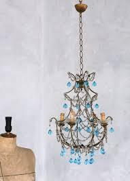 blue crystal chandelier light vintage 1930 s shabby blue macaroni beaded crystal chandelier