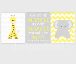 Yellow Gray Nursery Decor Baby Nursery Wall Yellow Gray Grey Chevron Elephant Giraffe