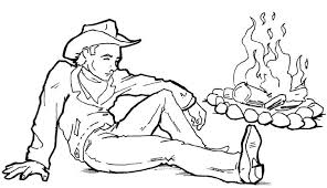 coloring cowboy sat near of a campfire picture