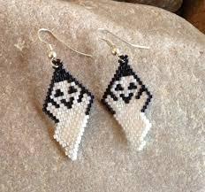 halloween beaded ghost earrings